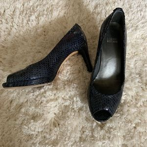 Stuart Weitzman• Blue snake Print Open Toe Heels